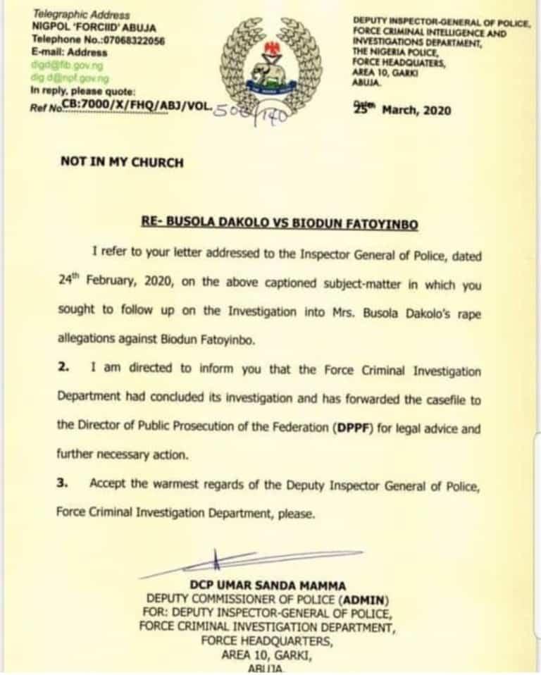 Busola Dakolo gives update on her rape case against Biodun Fatoyinbo