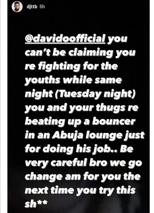 Davido beats bouncer in Abuja lounge