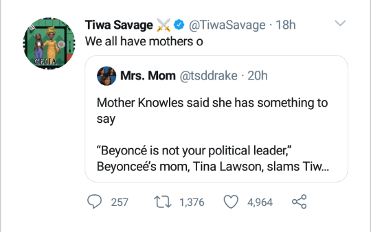 Tiwa Savage replies Beyonce mum